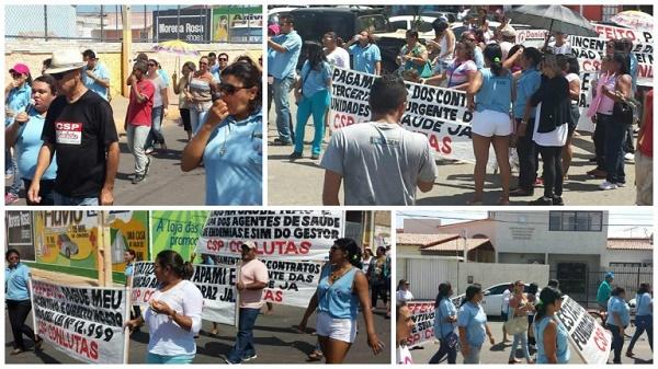 Protesto dos agentes de saúde e endemias pelas ruas de Macau